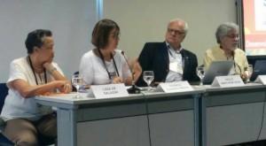 Mesa de debates do dia 29. Determinantes Sociais da Saúde na pauta./ Imagem: Elis Borde